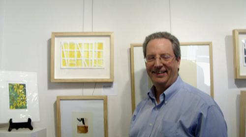 Bill Brookover with his print Yellow Window #1 at Surface and Tension Print Exhibition