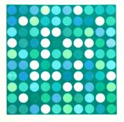 square grid of circles in blue and green on bluegreen background, Rotations #7, screenprint by Bill Brookover