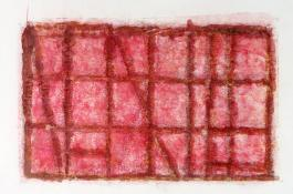 horizontal format monoprint in tones of red. Red Foggy Sky by Bill Brookover