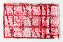 horizontal format monoprint in red and white, Red Gritty Sky by Bill Brookover