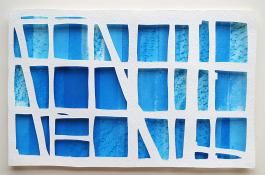 white horizontal grid, 3 rows high, 6 rows wide, over blue rectangles in range of tones. Cyan Window #1 by Bill Brookover
