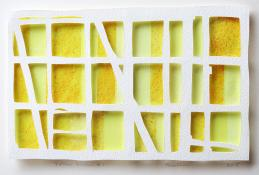 white horizontal grid, 3 rows high, 6 rows wide, over yellow rectangles in range of tones. Yellow Window #1 by Bill Brookover