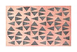 black and white striped triangles in a horizontal grid, seen through a top layer of pink. Vibrating Triangles (Pink on Black) by Bill Brookover