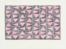 Pink triangles in a horizontal grid, floating over a layer of black and white striped rectangles. Rotating Triangles (Pink on Black) #2 by Bill Brookover
