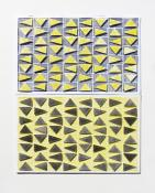 Yellow and gray triangles in a horizontal grid, floating over a layers of black and yellow. Trianglulation #1 (Yellow & Black) by Bill Brookover
