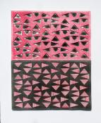 Red and gray triangles in a horizontal grid, floating over a layers of black and red. Trianglulation #2 (Red & Black) by Bill Brookover