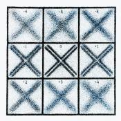 Grid of 9 squares, 3 rows of 3, containing X's in varying states of focus