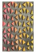 multicolor red, yellow & orange triangles in a vertical grid, seen through a top layer of dark gray. Atmospheric Triangulations #2 by Bill Brookover