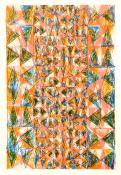 Multi-color triangles arranged in a vertical grid, overprinted in pink, orange, & blue