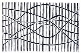 six dark lines weave from left to right across a background of dark vertical lines