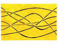 6 dark lines weave left to right over a variegated yellow background