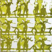 grid of 9 groups of dancers, printed in yellow green and dark green