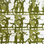 grid of 9 groups of dancers, printed in two tones of green