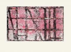 horizontal image of a grid of black lines against a pink and gray background