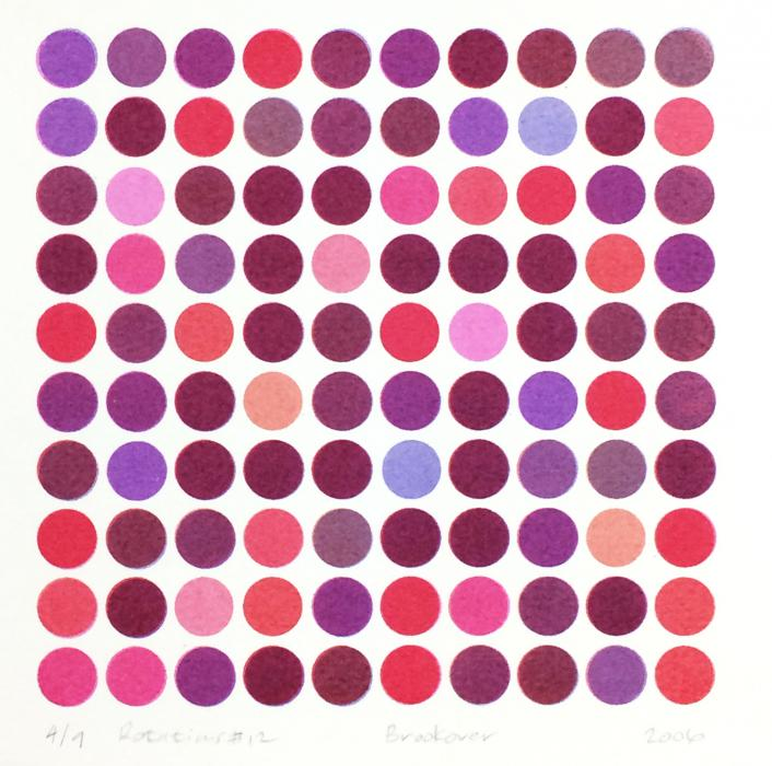 square grid of dots in red, pink, and purple, Rotations #12, screenprint by Bill Brookover