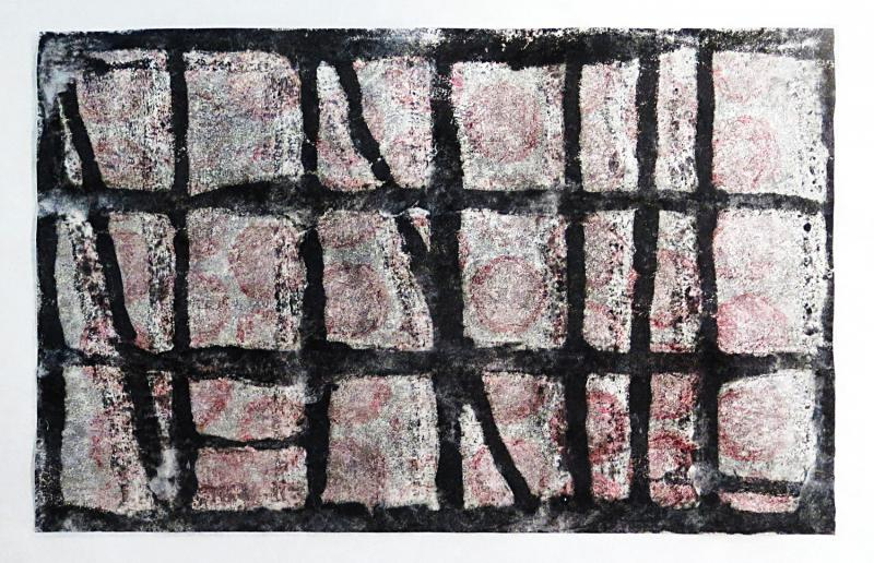 horizontal format monoprint in black, gray and pink. Foggy Starry Sky by Bill Brookover