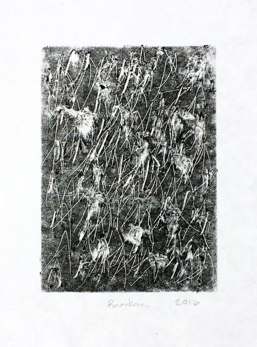 white marks and rhymthic gestures on a dark background. Philadelphia Notes, monoprint by Bill Brookovef