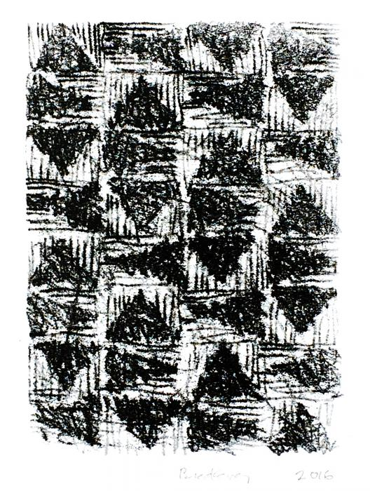 grid of 36 triangles, 8 high by 4 wide, containing dark hand-drawn triangles on a light background. Scribbled Triangles, monoprint by Bill Brookover
