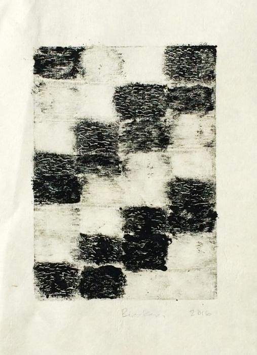 grid of 36 rectangles, 8 high by 4 wide, containing hand-drawn tones of gray and black, with horizontal white lines interspersed. Stepwise, monoprint by Bill Brookover.