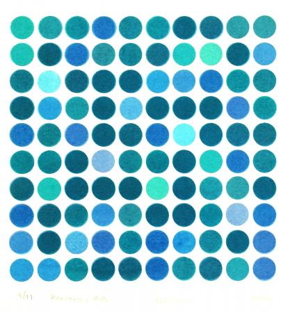 square grid of dots in dark blue and light blue, Rotations #8, screenprint by Bill Brookover