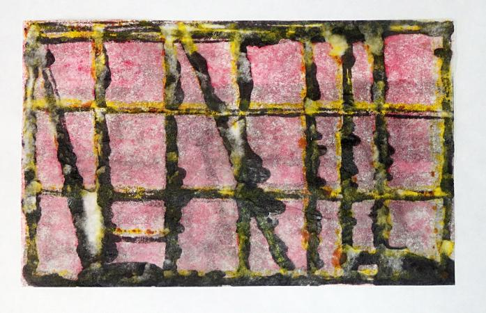 horizontal format monoprint in black, gray, pink and yellow. Yellow Lights / Pink Sky, monoprint by Bill Brookover