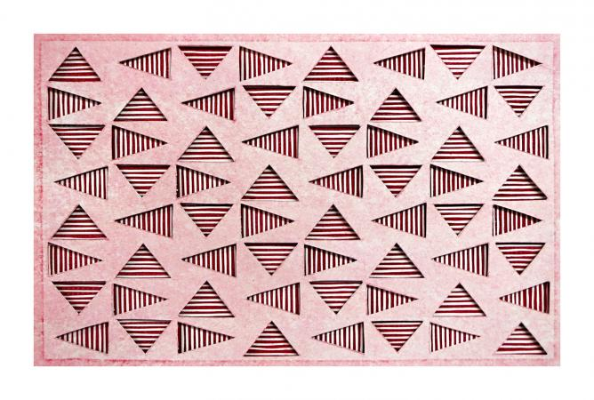 red and white striped triangles in a horizontal grid, seen through a top layer of light red. Vibrating Triangles (Light on Dark Red) by Bill Brookover