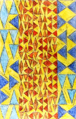 Multi-color triangles arranged in a vertical grid, overprinted in orange, blue, and yellow
